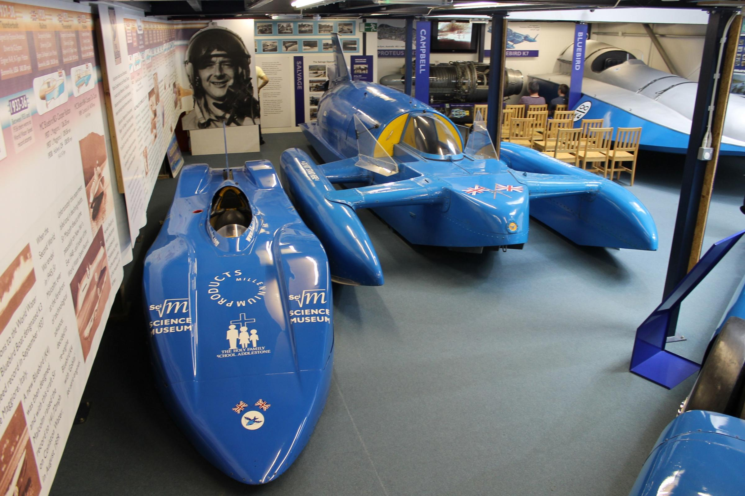 LEGACY: Bluebird Electric and Bluebird K7 replica at the museum
