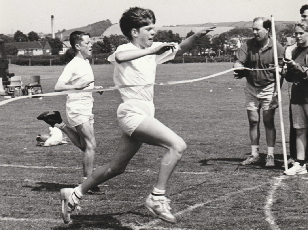 RACE: Lee Clements wins the Year 7 boys' 100m from James Porteous at Thorncliffe School's sports day in 1993
