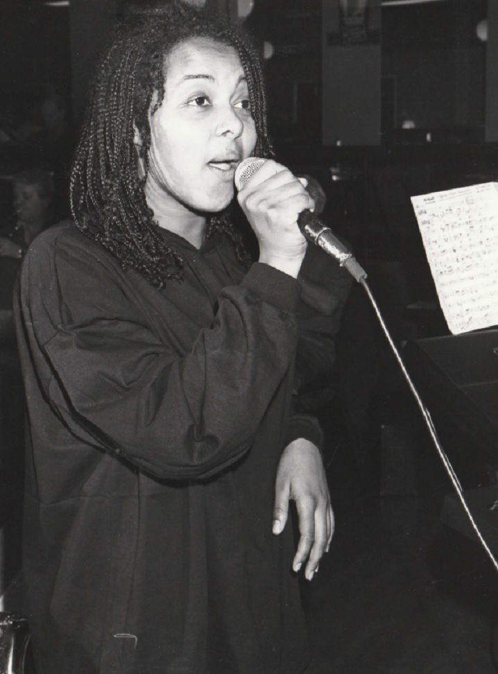 SINGING: Vocalist Amanda Brown rehearsing for the Barrow Pop Proms in 1994