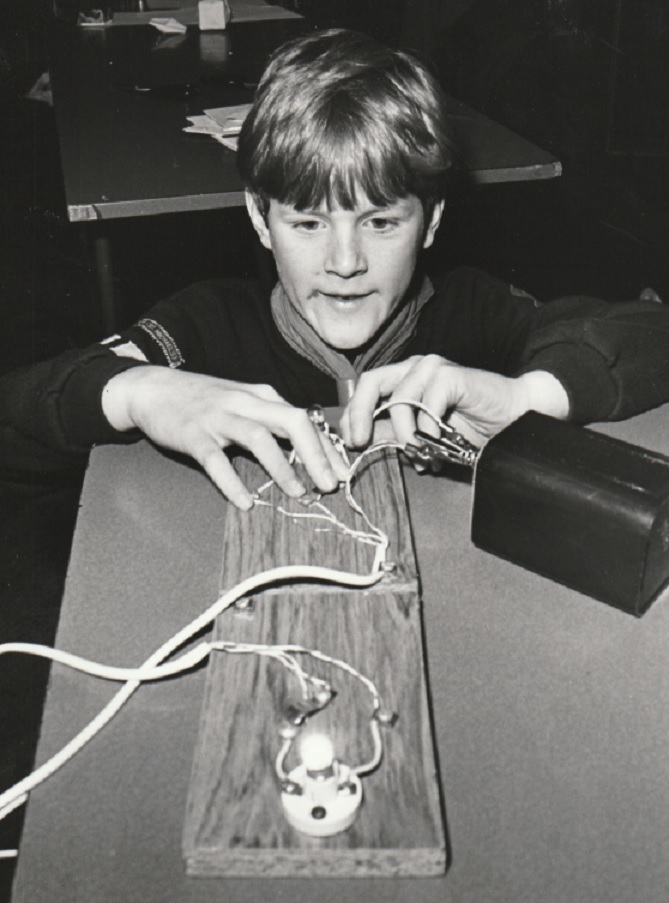 TRAINING: Stuart Sharples, nine, practises Morse code at the Sixers Training Day for Duddon and High Furness Cub Scouts in 1995