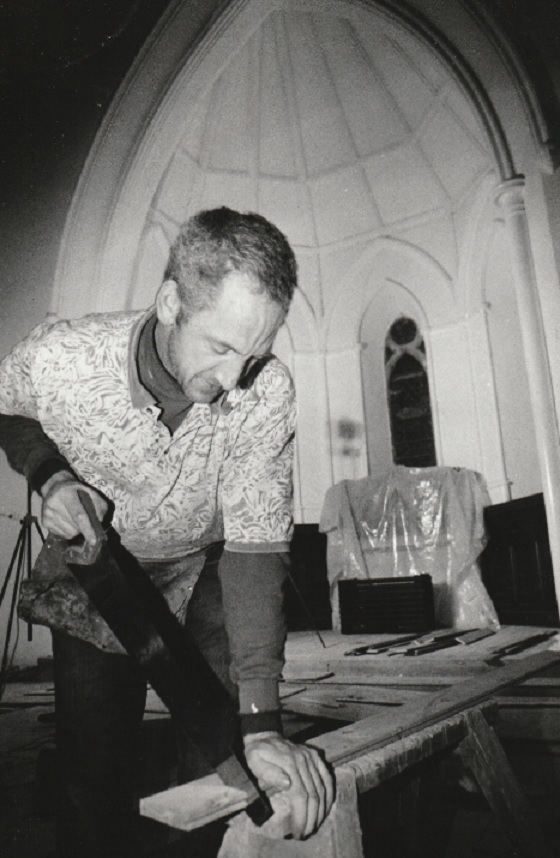 CRAFT: Joiner Billy Clark of Lowther Construction at work on the floor of the altar in January 1998 during restoration work at Bardsea Church