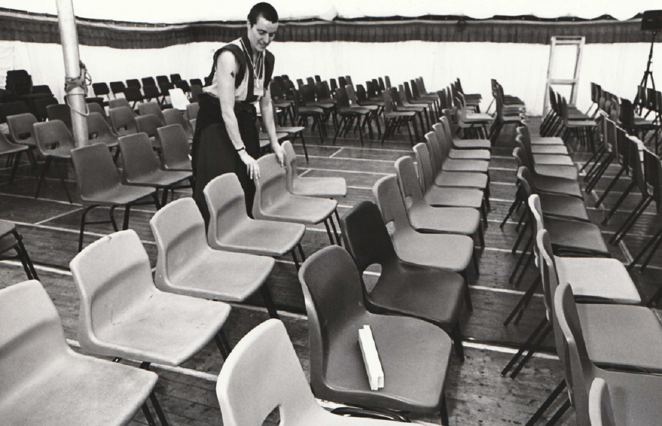VISIT: Kelsang Dekyong helps set up some of the seats to welcome festival visitors in 1994
