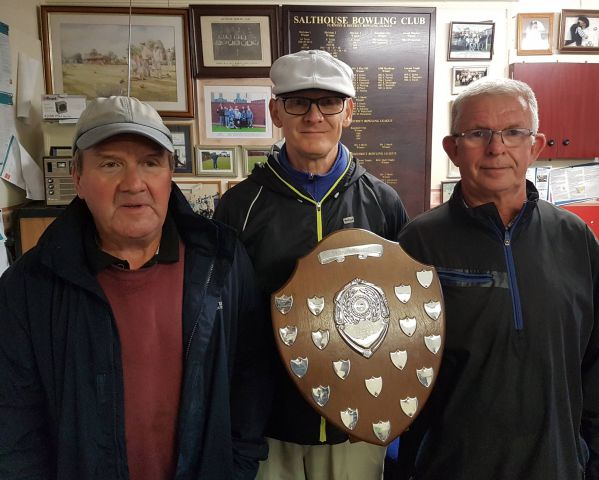 Champions: Salthouse Over-60s Pairs winners Mike Fieldhouse (left) and Alan Edwards (right) with Salthouse chairman John Taylor SUBMITTED BY KEN HOWARTH
