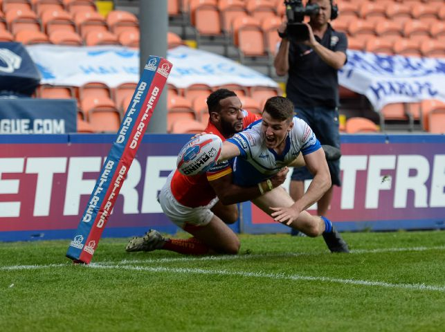 Double: Shane Toal scored twice for Barrow Raiders against Halifax RICHARD LAND