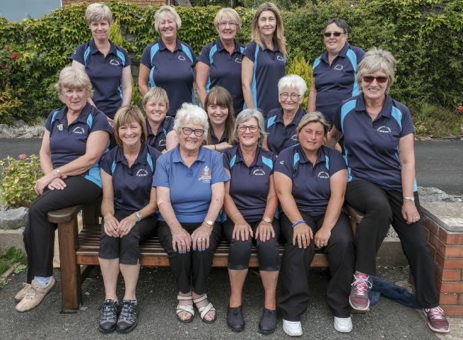 Good show: The Cumbria Ladies Bowls team. They are (back, from left): Julie Creighton, Wendy Holmes, Marian Alexander, Debbie Hall, Elaine Ryland, Karen MacPake, Jessica Pickthall and Brenda Gillen. Front: Thelma McBratney, Caroline Bushell, Pam Charnely