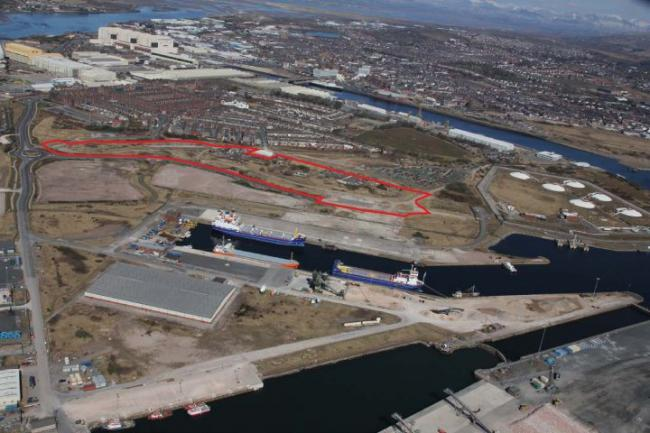 Aerial photo of the Barrow Waterfront site.