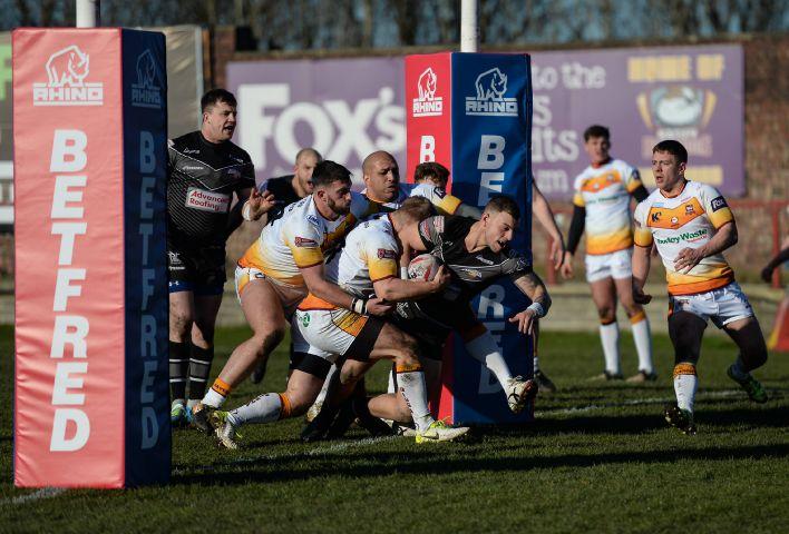 So far so good: Alec Susino powers over to score as Raiders went into a 12-0 lead before eventually losing 32-12 at Batley 2018 Richard Land