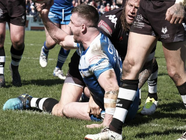 Over we go: Martin Aspinwall roars in triumph as he scores Barrow's second try