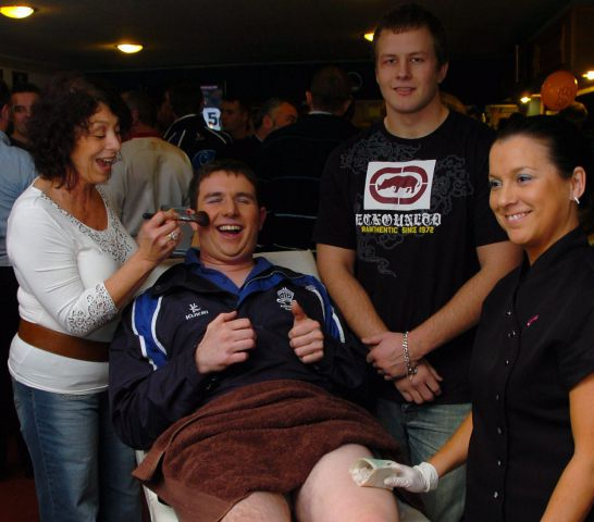 New look: Furness Rugby Union Club captain Colin While getting his legs waxed and having a makeover, as part of the club's Children in Need night