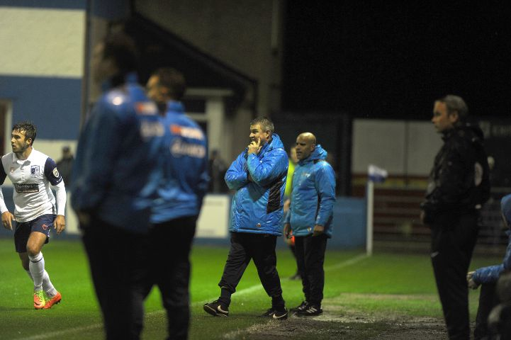 Plenty to ponder: Micky Moore on the touchline as Barrow are held to a 0-0 draw by Guiseley LEANNE BOLGER