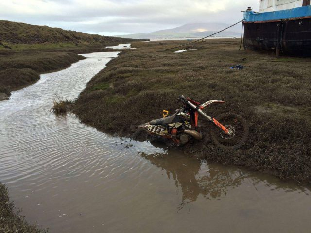 Off road: The motor-cross bike pictured after the incident at Askam pier