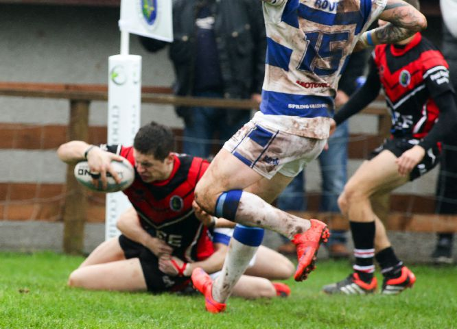 OPENING SCORE Alistair McEwan crossed the whitewash for Dalton's first try against Whinmoor MILTON HAWORTH