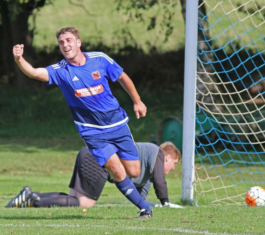 STICK IT IN Steven Pritt celebrates scoring Bootle's first goal in a 3-0 win over Furness Cavaliers reserves last weekend. They head to FC Barrow Island in cup action tomorrow STEPHEN LEECE