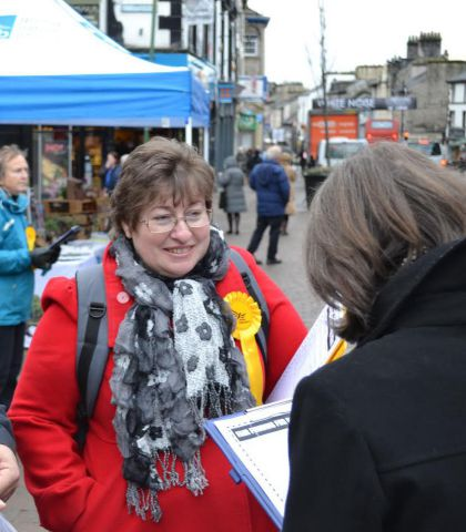 Loraine Birchall at her campaign launch in Kendal. SUBMITTED