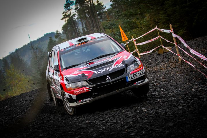 BACK BEHIND THE WHEEL Aaron McClure in action in his All Floors Express Mitsubishi E9 at the 2015 Cambrian Rally KUCERA STANISLAV PHOTOGRAPHY