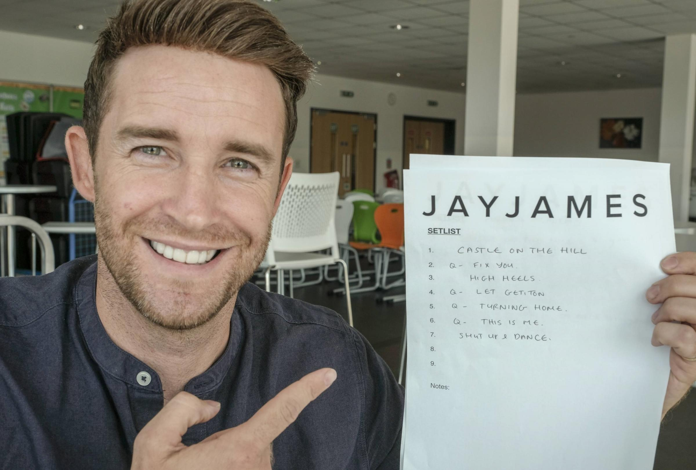Jay James with his set list at Furness Calling gig at The Furness Academy.  // MILTON HAWORTH