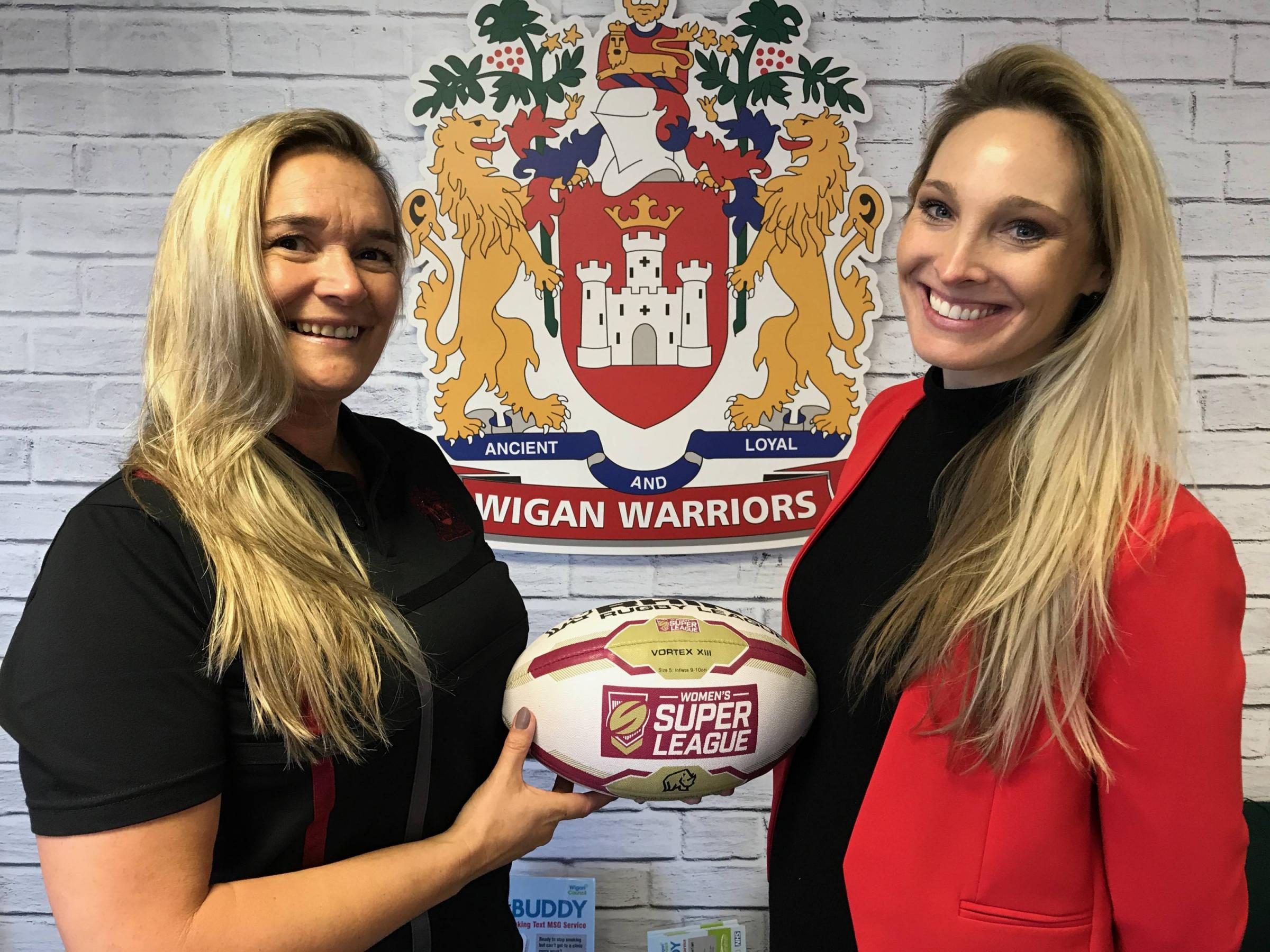 Wigan Warriors women's coach Amanda Wilkinson (left) with Jenna Brooks, from Sky Sports, at the launch of the new team WIGAN WARRIORS