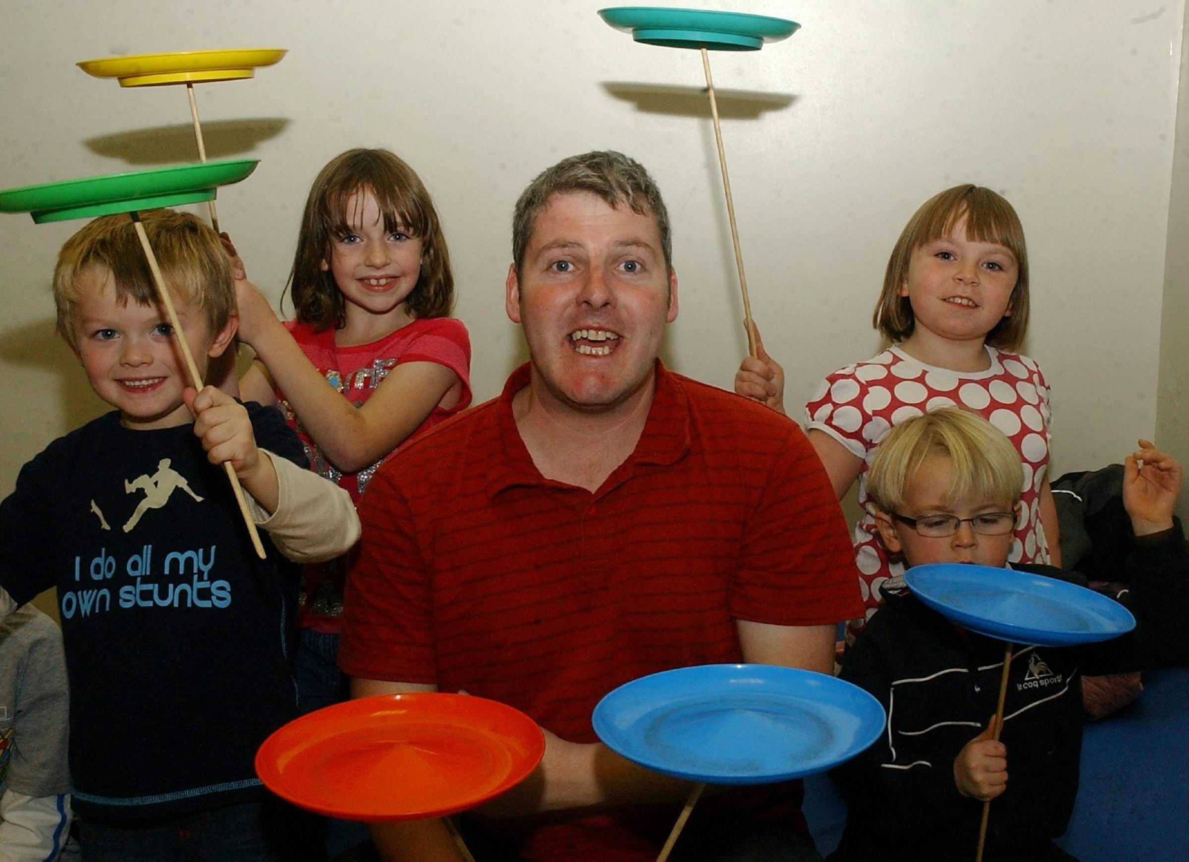 Fun: Gary Gifford, of Bread and Butter Theatre, hosting a circus skils session at the Millom Children's Learning Centre in 2008