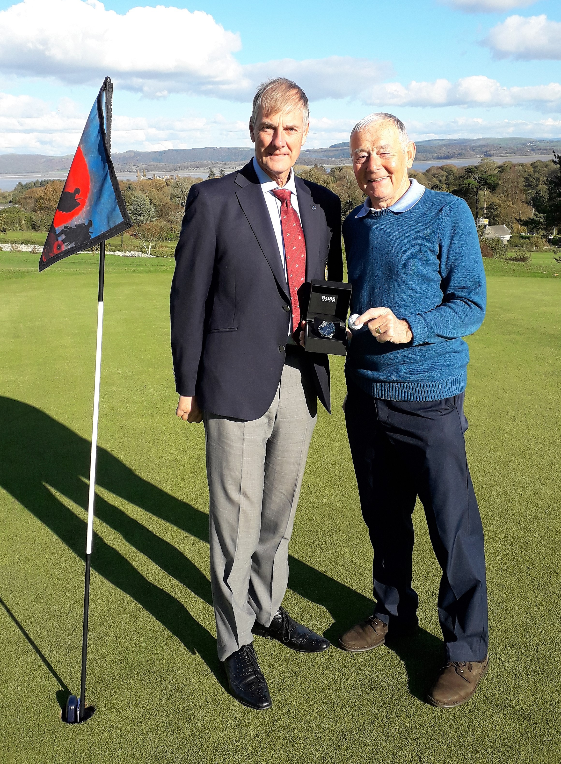Terry Rhodes (right) and Ulverston Golf Club captain Neil Bremner