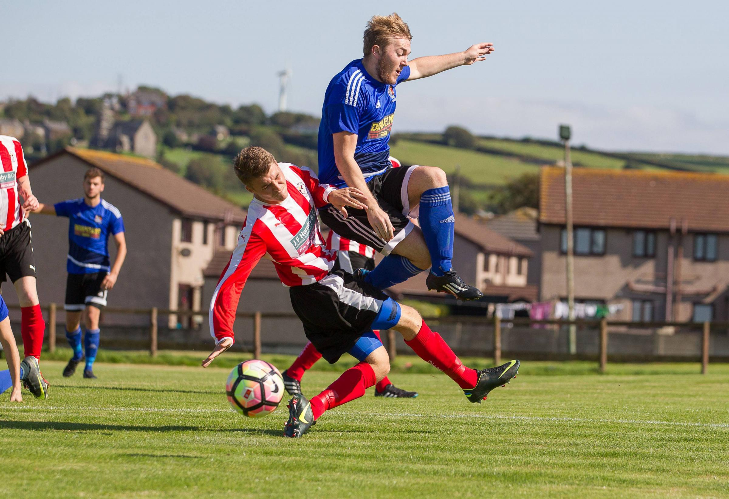 MATCH-WINNER: Michael Thomas slotted home the winning penalty for Askam United Picture: Chris West