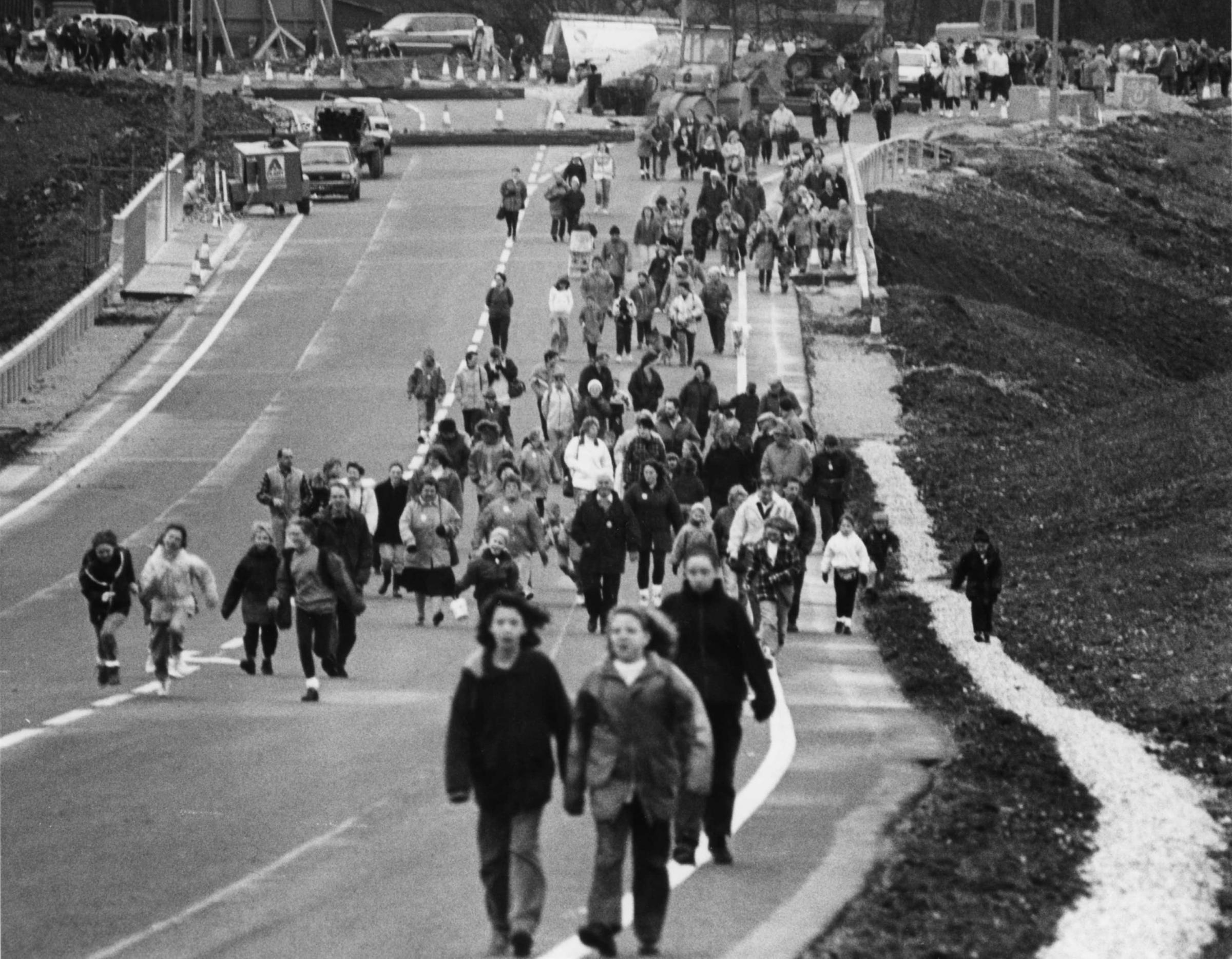 Sponorship: Some of the walkers checking out the new Dalton bypass in 1993