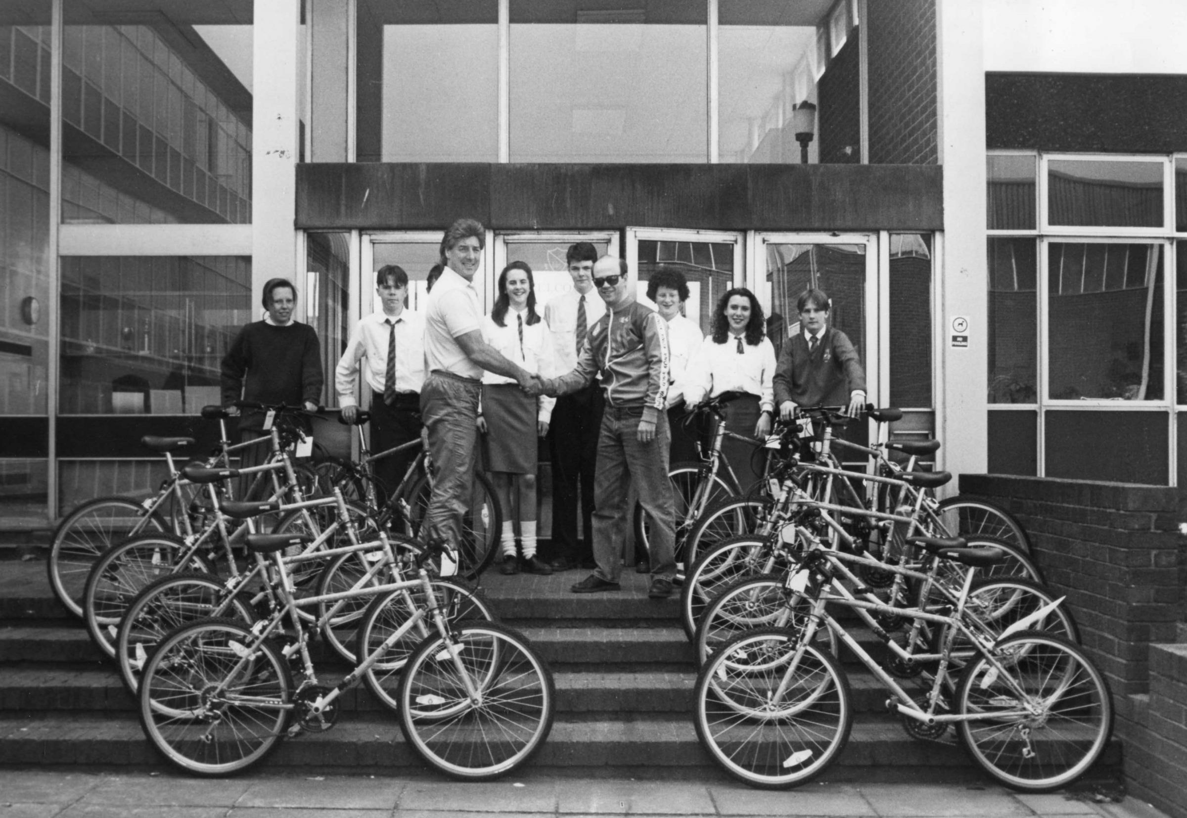 Wheels: Pupils at Barrow's Thorncliffe School take delivery of a fleet of mountain bikes in 1991