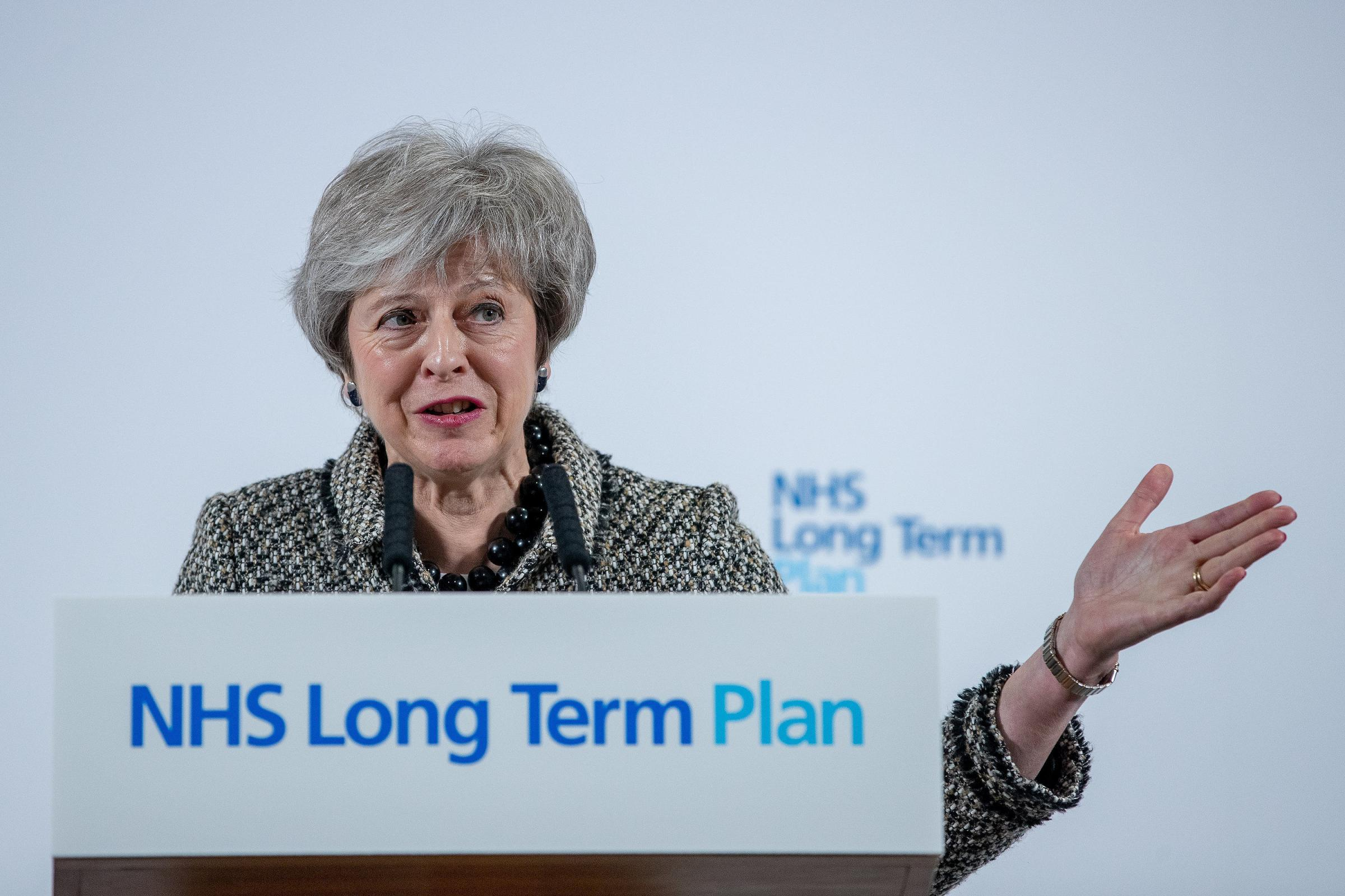 Prime Minister Theresa May speaking at Alder Hey Children's Hospital, Liverpool during her visit where she launched the NHS Long Term Plan alongside NHS England Chief Executive Simon Stevens. PRESS ASSOCIATION Photo. Picture date: Monday January 7, 20