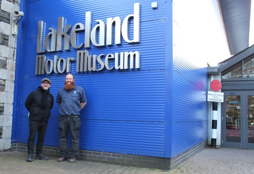 SURPRISE VISIT: Drew Pritchard and Chris Lowe, Operations Manager at Lakeland Motor Museum.