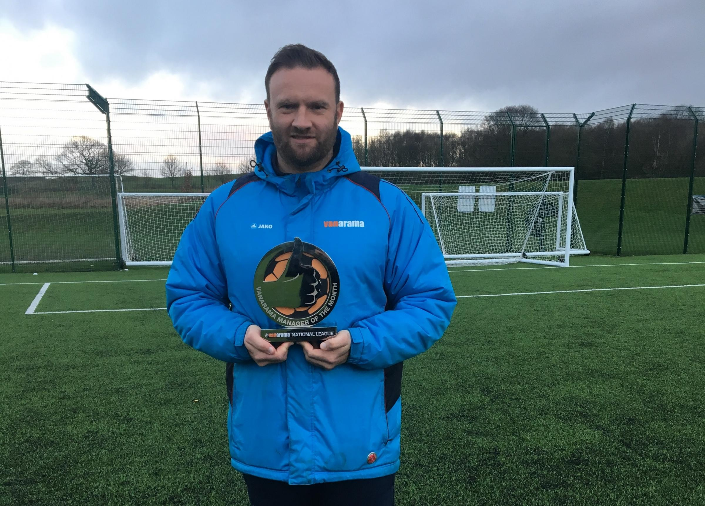 Ian Evatt with his National League manager of the month (December) trophy