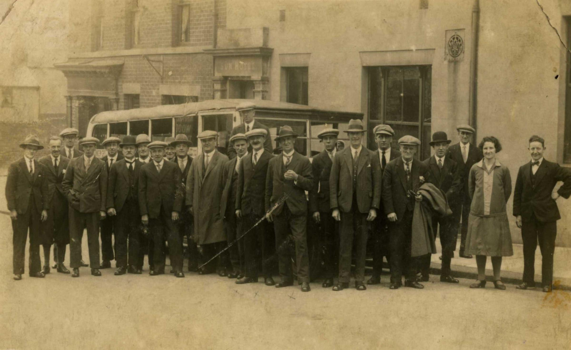 Outing: Regulars at Barrow's Sun Hotel ready for a trip to Whitehaven in 1929