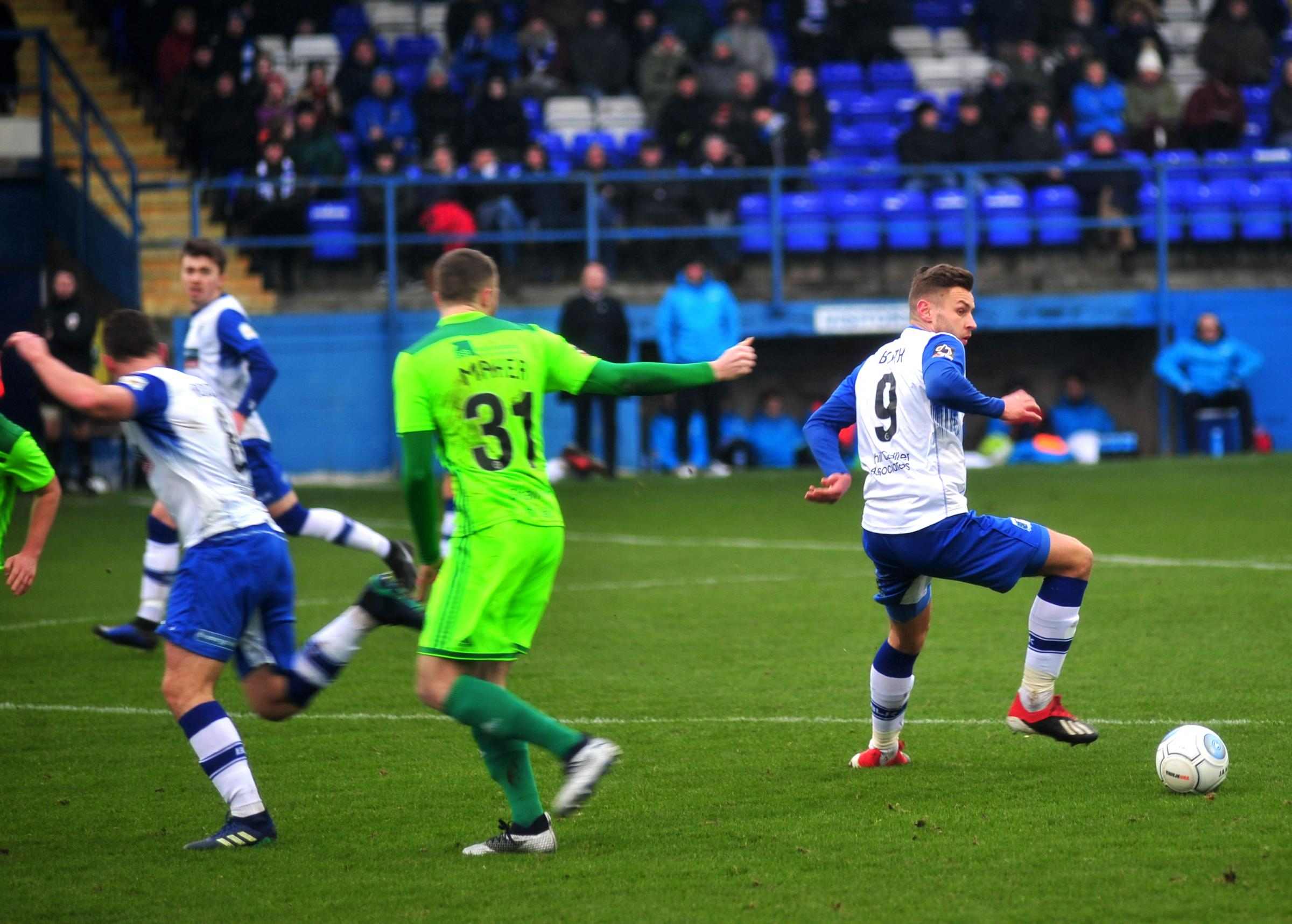 Jacob Blyth for Barrow A.F.C in their game against FC Halifax Town.