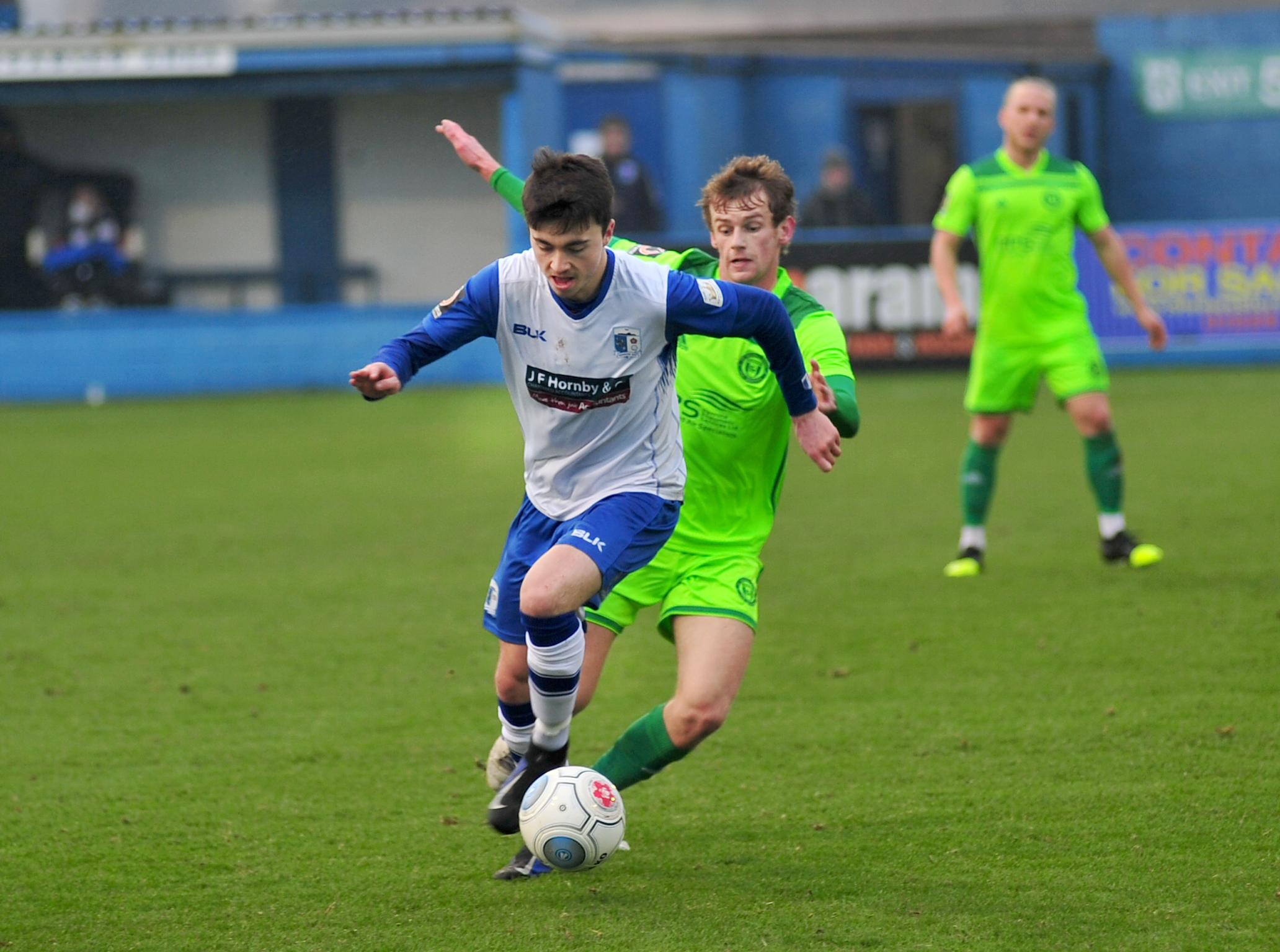 Luke Burgess for Barrow A.F.C in their game against FC Halifax Town