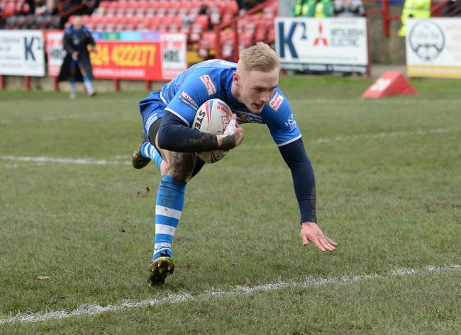 OVER HE GOES: Jake Spedding scored twice for Barrow Raiders at Batley Bulldogs Picture: Richard Land