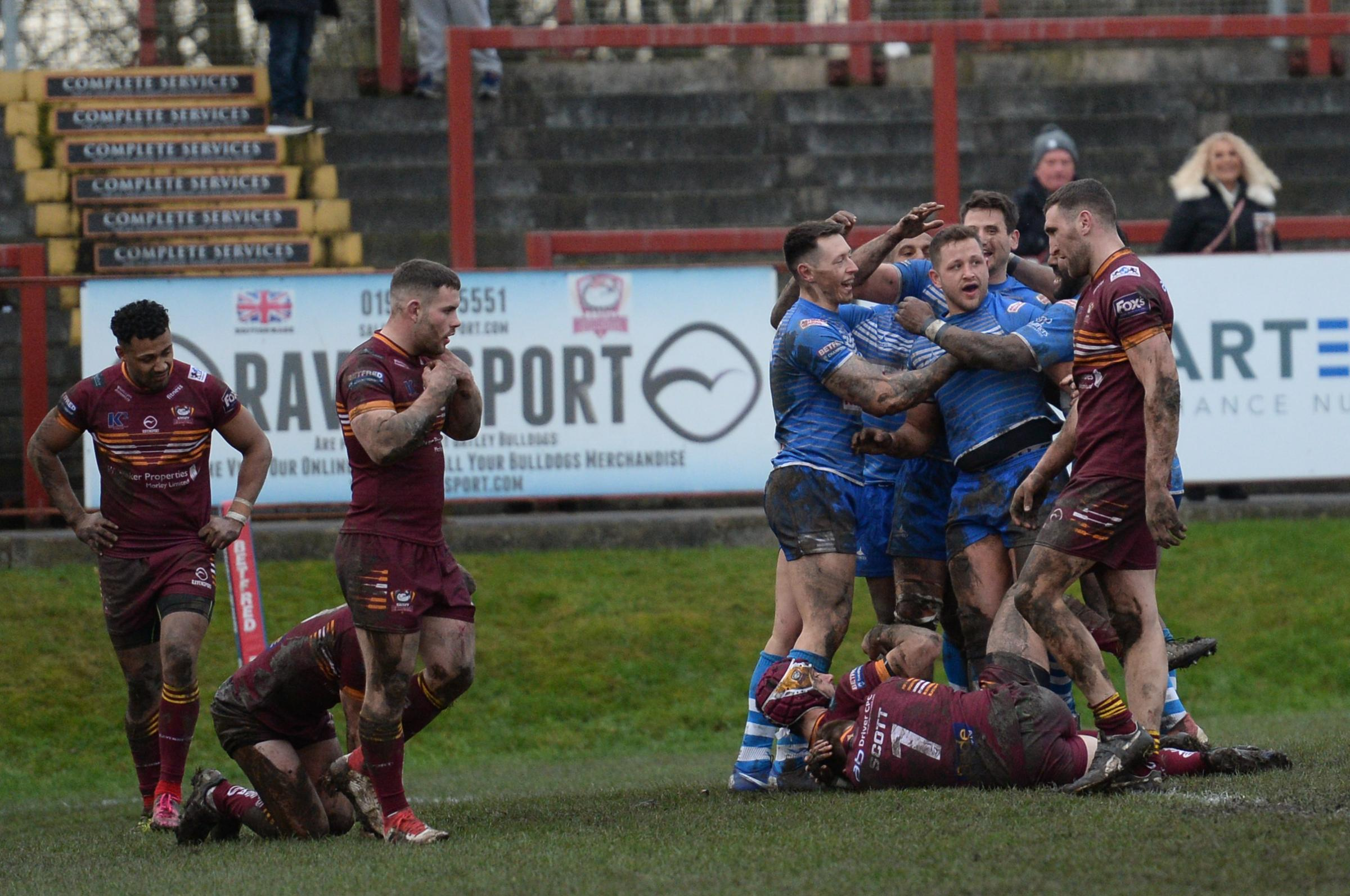 GREAT START: Barrow Raiders celebrate Lewis Charnock's try in the win away to Batley Bulldogs			 Picture: Richard Land