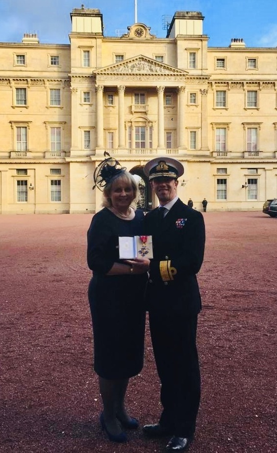 Rear Admiral William Warrender at Buckingham Palace with his wife Jo