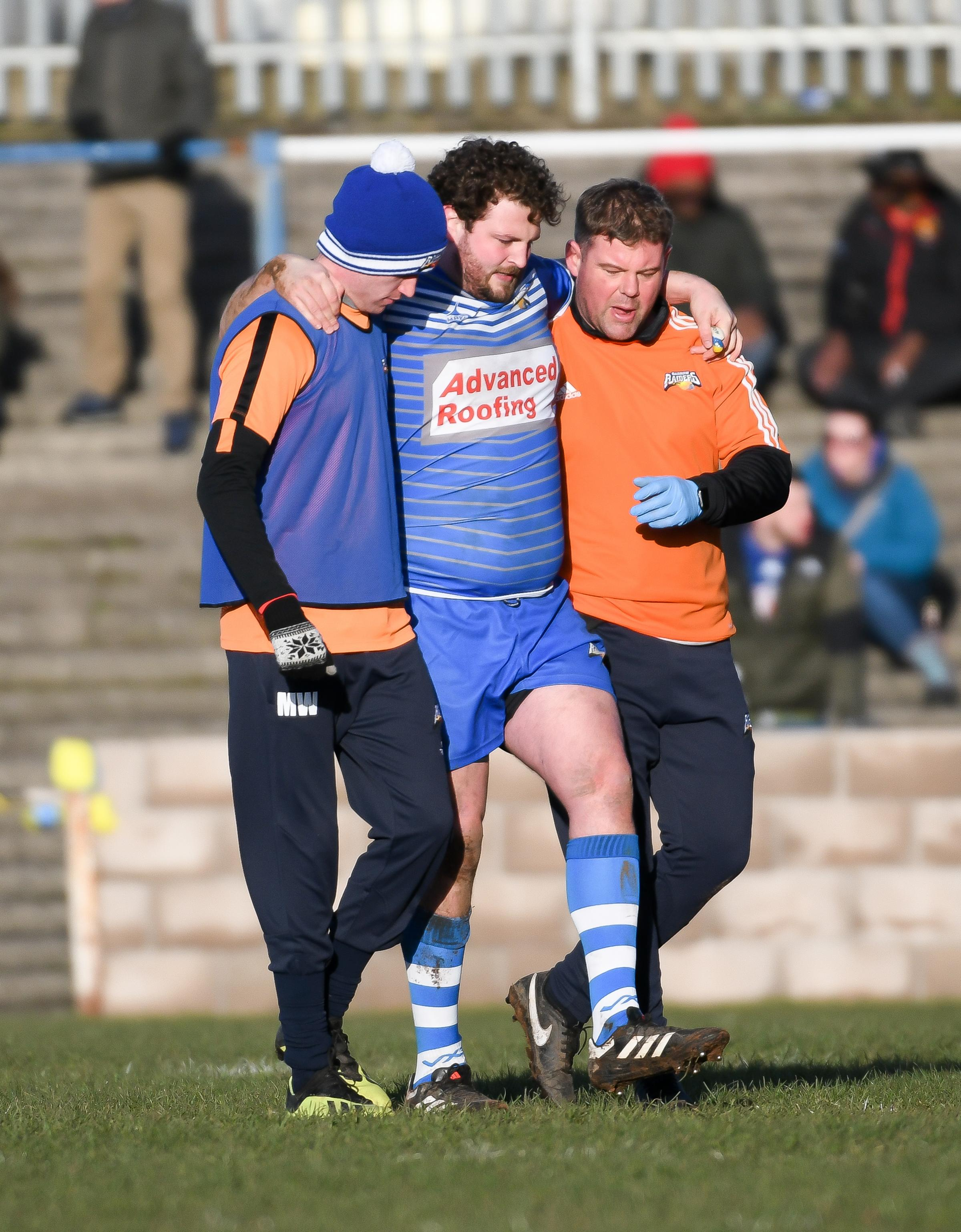 INJURY: Ryan Duffy is carried off in Barrow Raiders' defeat to Sheffield Eagles Picture: Lindsey Dickings