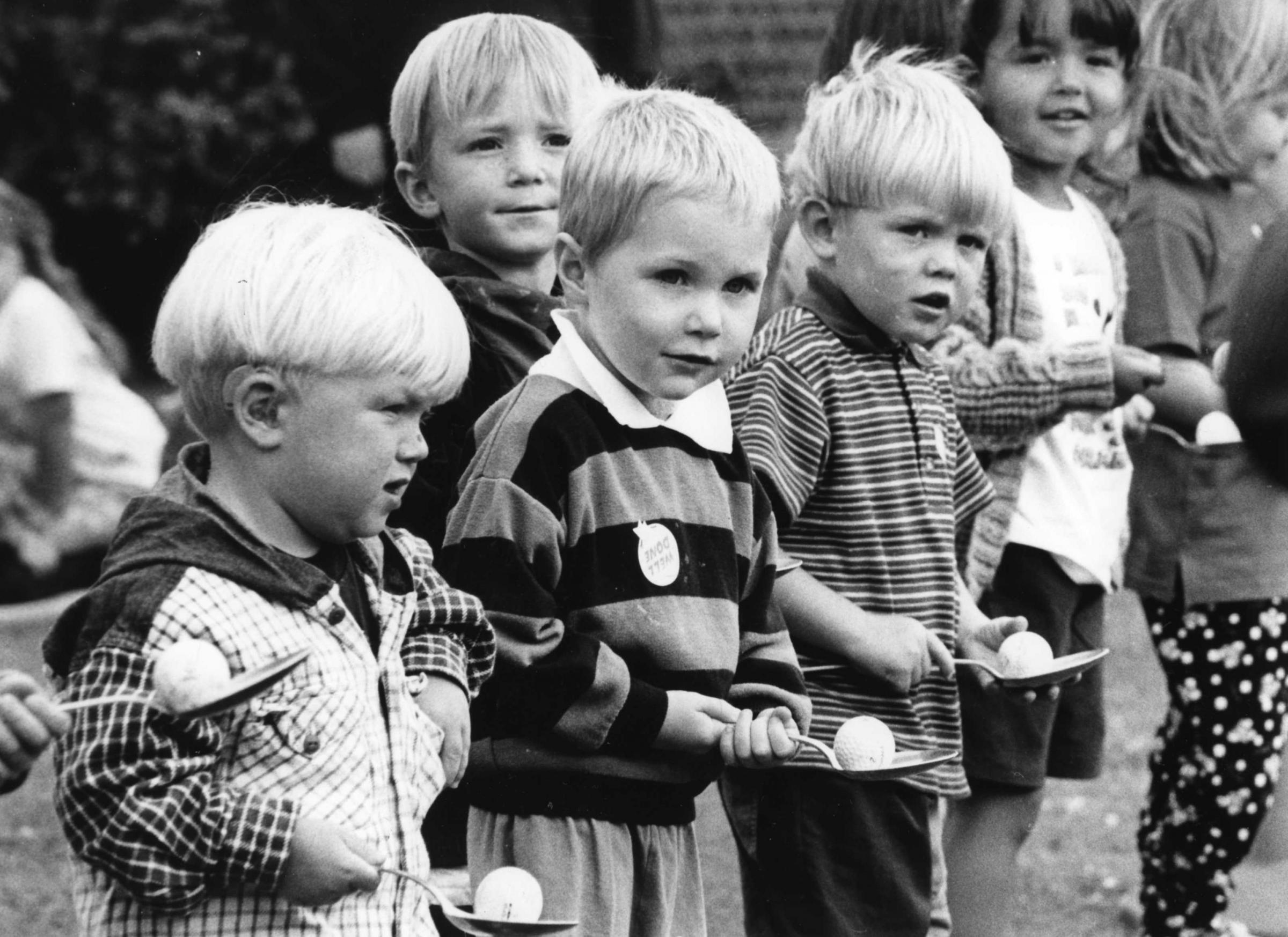 Start: Pupils lined up at the start of the egg and spoon race in the July 1997 sports at North Walney School Nursery