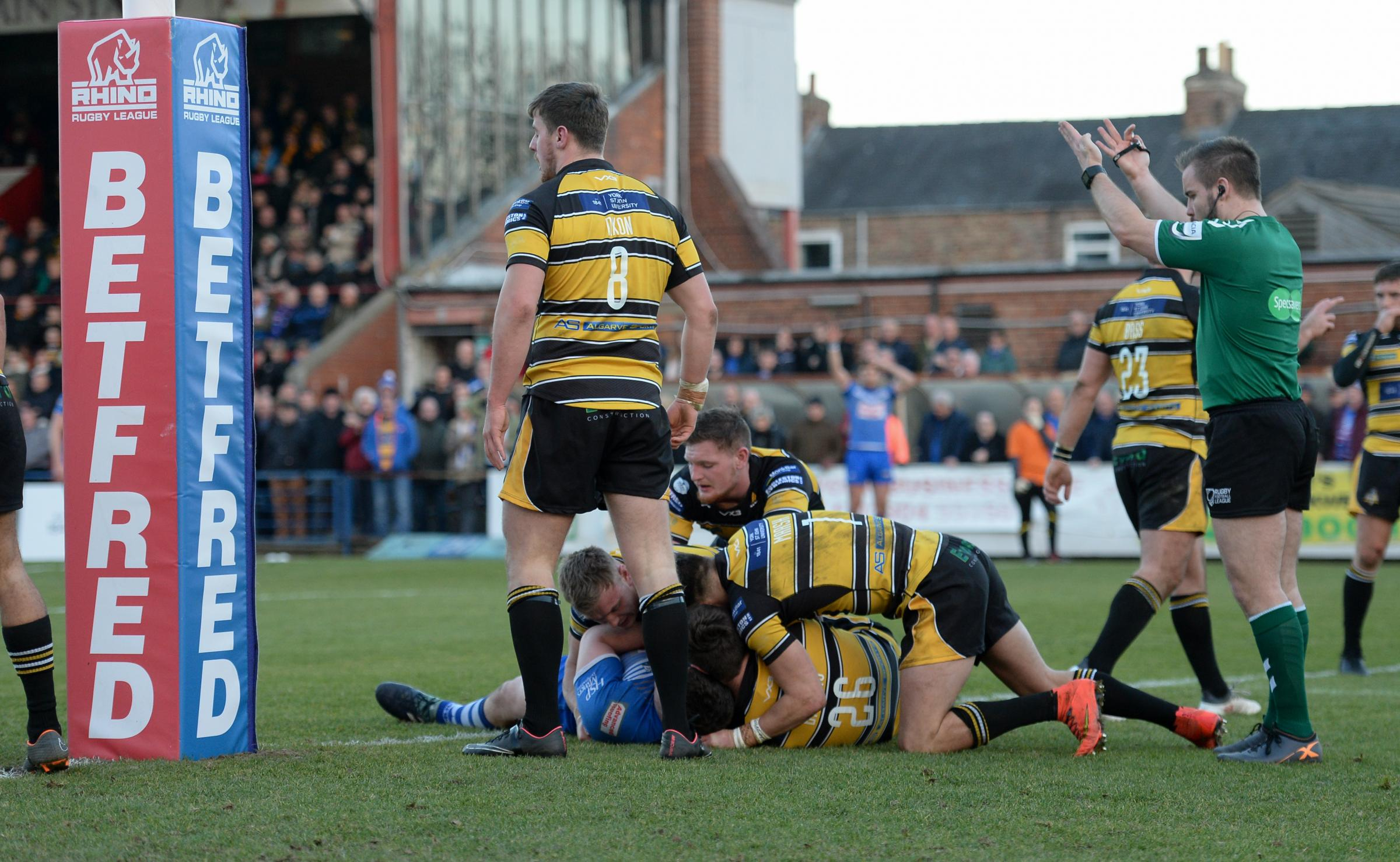 Tom Walker is held up over the line for Barrow Raiders against York City Knights Picture: Richard Land