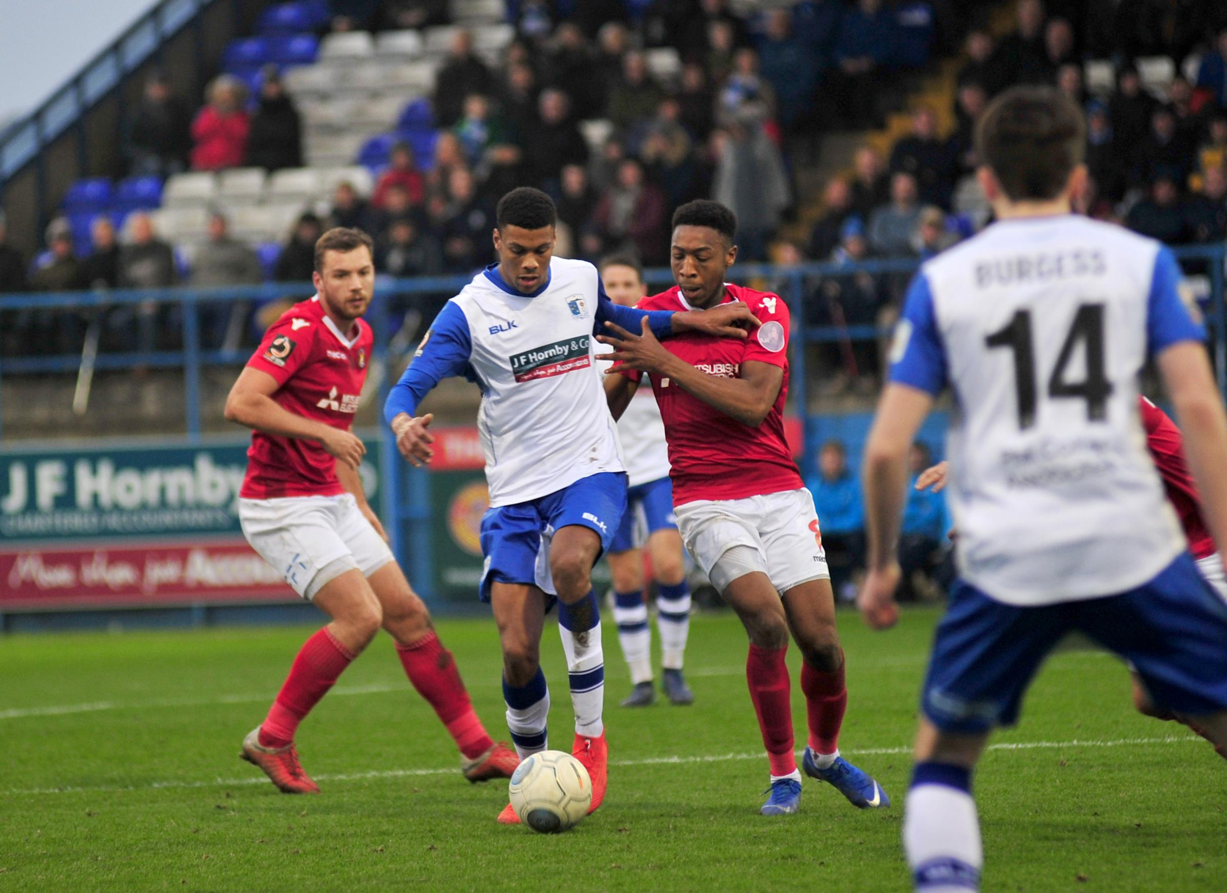 Kyle Jameson for Barrow A.F.C in their game against Ebbsfleet United