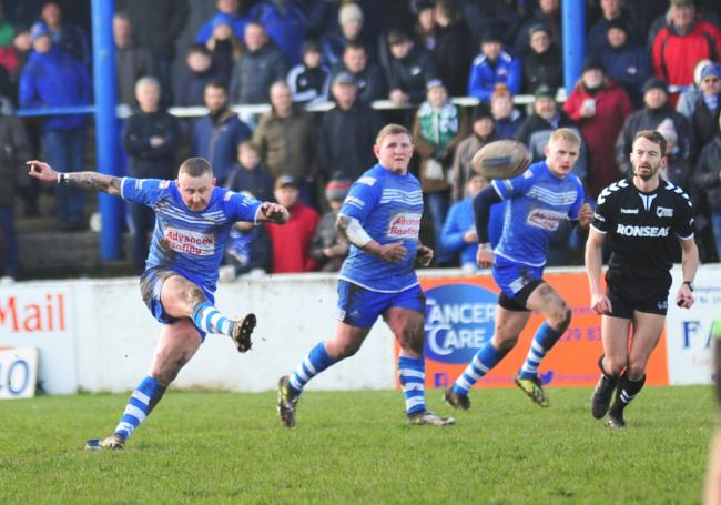 OVER IT GOES: Jamie Dallimore kicks a penalty for Barrow Raiders Picture: Donna Clifford
