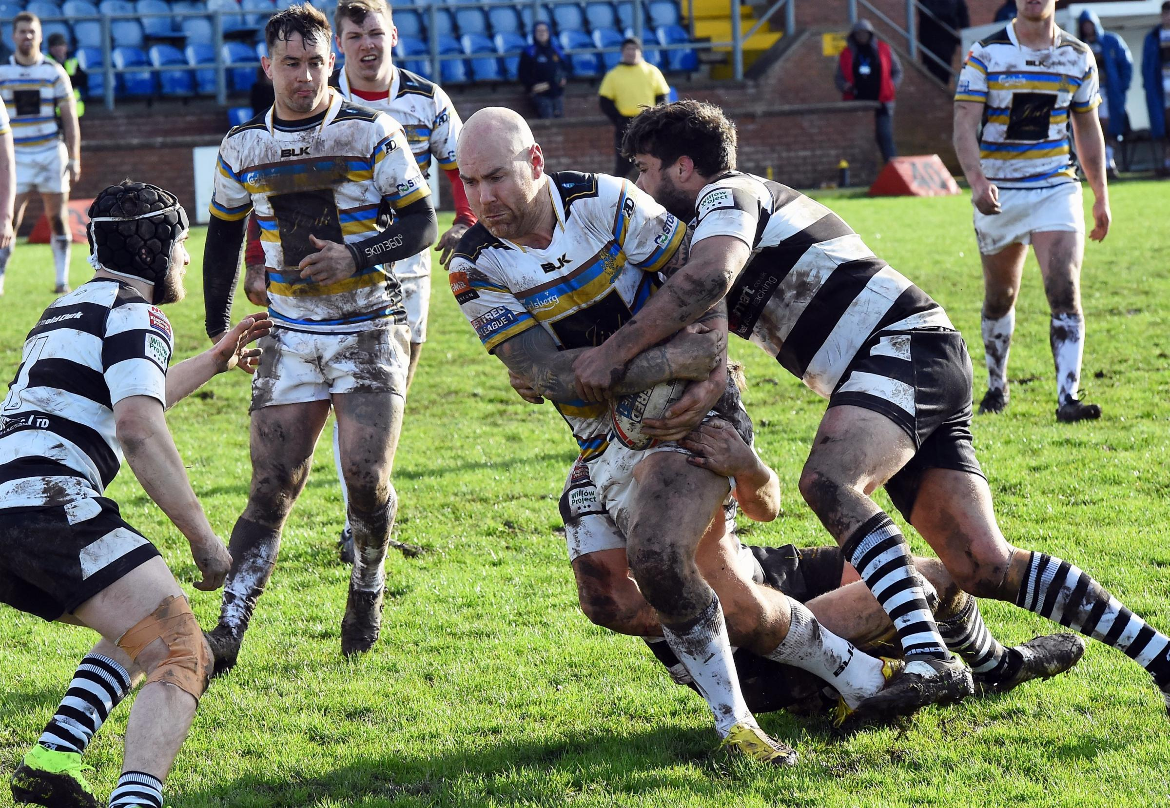 Former Barrow Raiders player and Ulverston amateur Ruairi McGoff in action for Whitehaven Picture: John Story