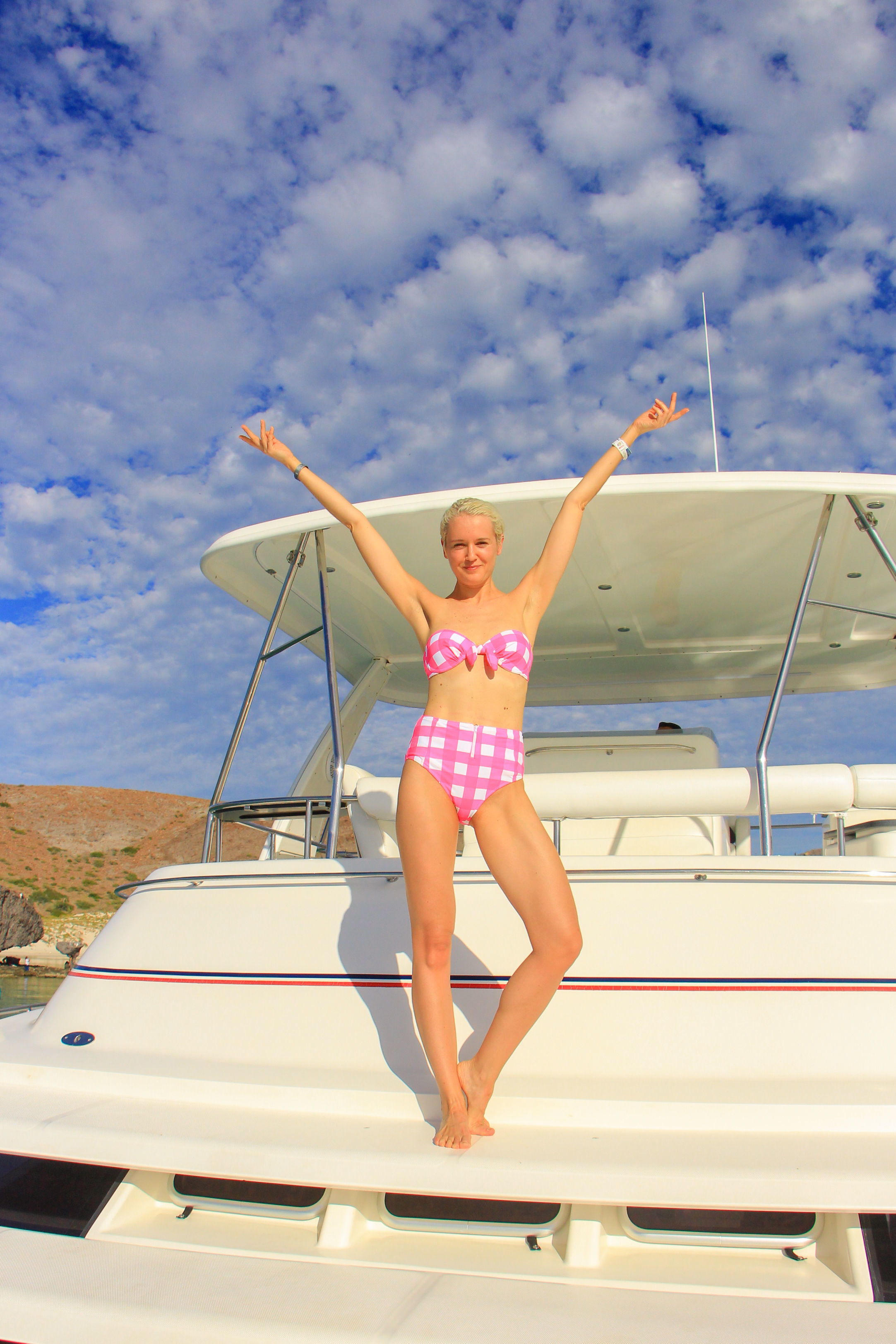 Katie Wright on a luxury catamaran trip in the Gulf of California