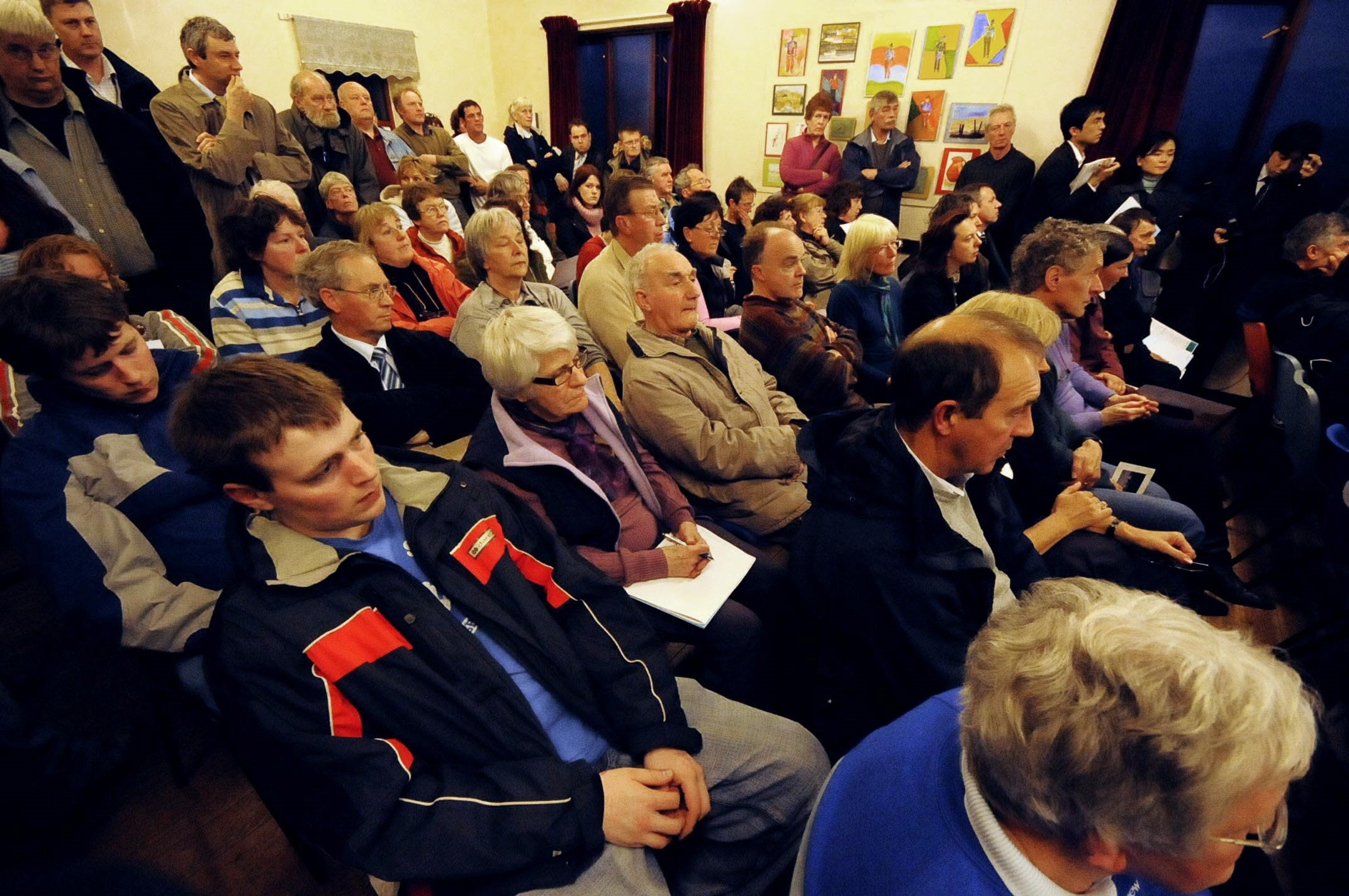 Packed: A 2009 public meeting at Kirksanton, near, Millom, into plans for a nuclear power station outside the village