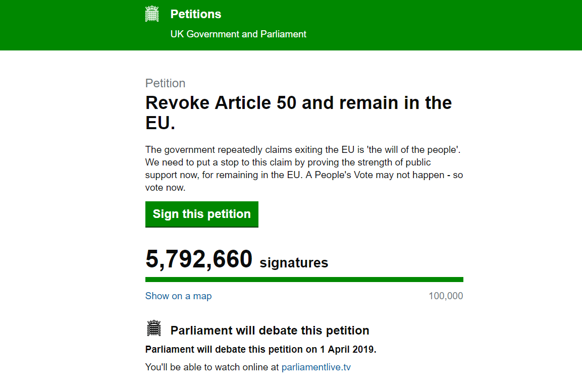 Screen grab taken from the UK parliament website of a petition calling for the government to Revoke Article 50 and remain in the EU