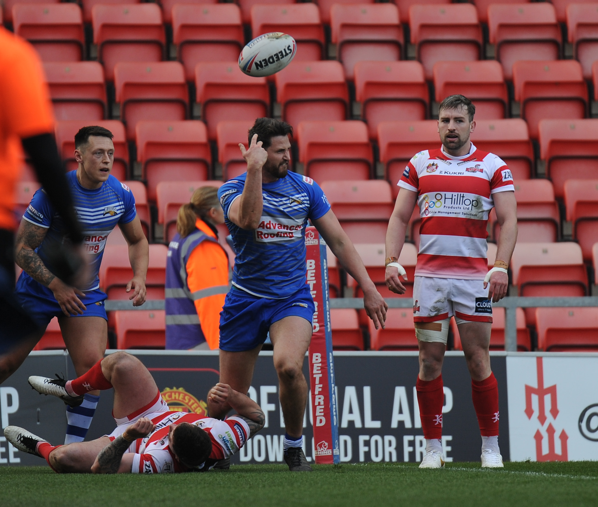 Jarrad Stack celebrates his try for Barrow Raiders against Leigh Centurions Picture: Richard Land