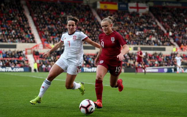 Georgia Stanway in action for England against Spain