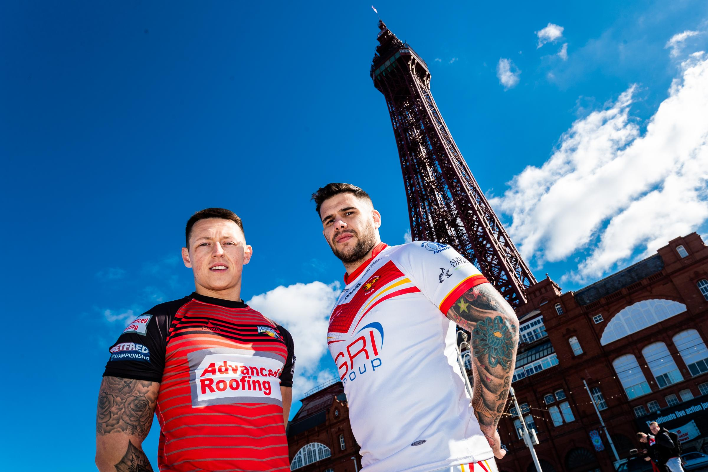 TOWERING PRESENCE: Deon Cross with Sheffield Eagles' Mark James in Blackpool at the Summer Bash media day 		Picture: SWpix.com