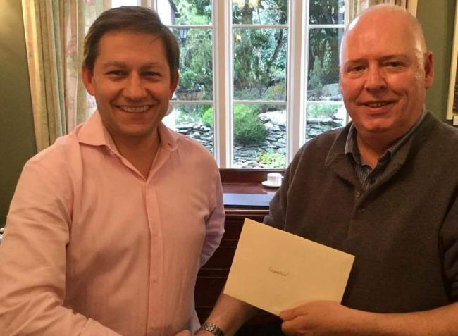 WINNER: (right) David Gallagher presented with prize