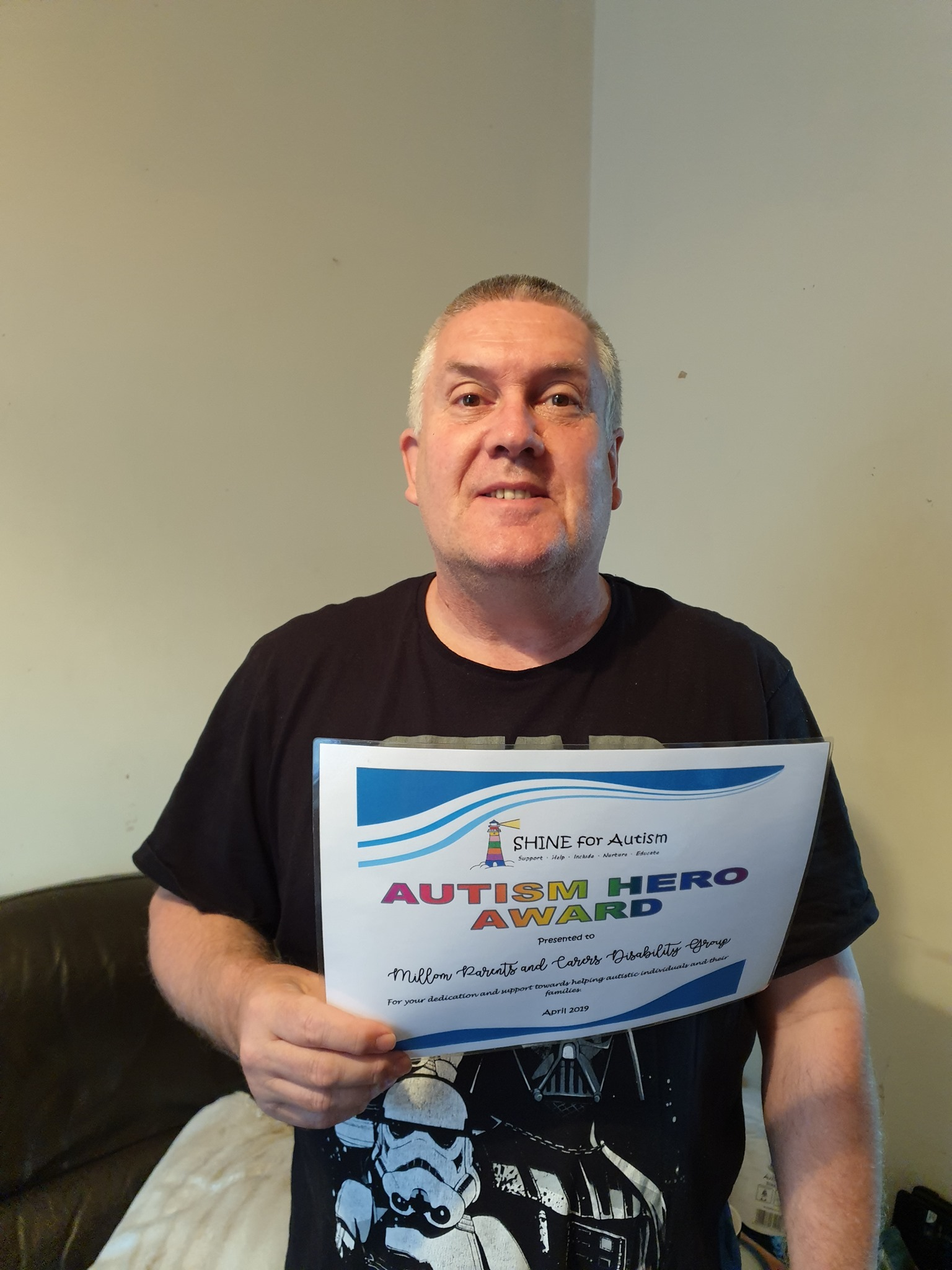 HERO: Jonathan King, chairman of charity Millom Parents and Carers Disability Group accepted SHINE for Autism's April Autism Hero Award.