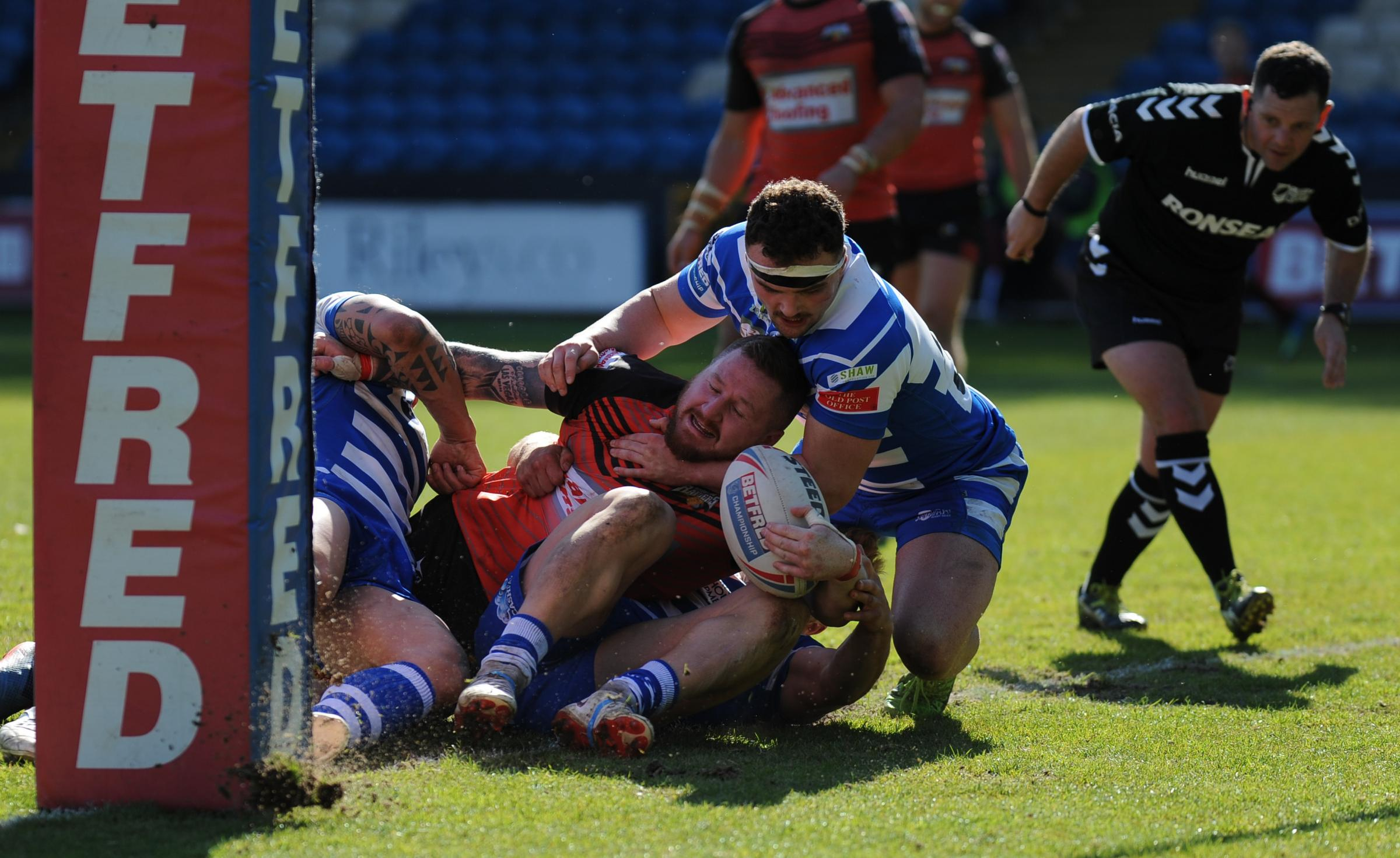 FALLING SHORT: Dan Toal can't quite get the ball down during Barrow Raiders' defeat at Halifax                                   Picture: Richard Land